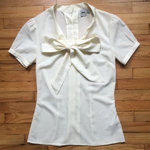 Asos cream white tie blouse, button back, size 2